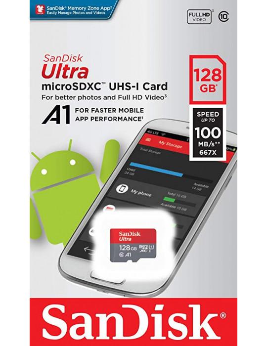 Nano-PC - Carte MicroSDXC SanDisk Ultra U1 Class 10 - 128 Go 100MB/s - 4