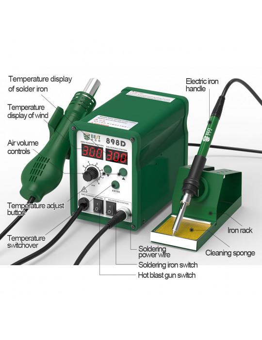 Stations & fers à souder - Station à souder Multifonctions BEST 898D+ - 780W- 100 à 450°C - 3
