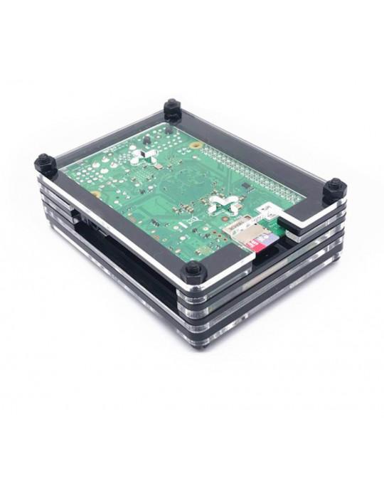 Boitiers - Boîtier Raspberry Pi 4 acrylique sandwich transparent - Noir - 4