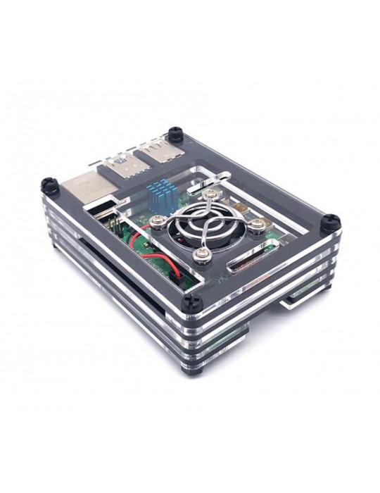 Boitiers - Boîtier Raspberry Pi 4 acrylique sandwich transparent - Noir - 3