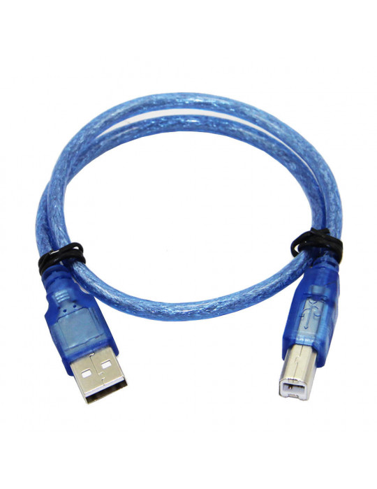 Connectiques / Câblages - Câble USB 1m blindé pour Arduino (ou autre !) - Bleu - 1