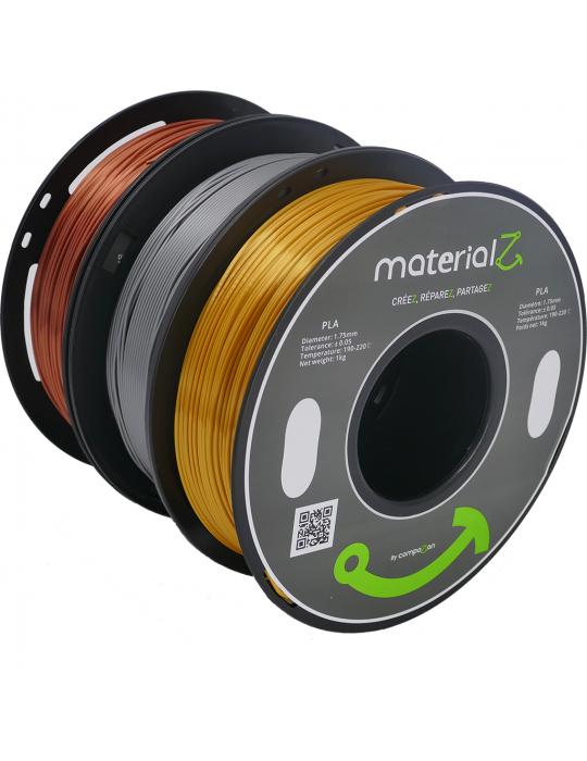Filaments PLA - Filament PLA MaterialZ Ingeo 4032D 1,75mm - 1Kg Element Silver (argent) - 2