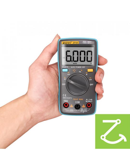 Mesures - Multimètre numérique True RMS ZT101 AC/DC 1000V 10A 6000 points - 2