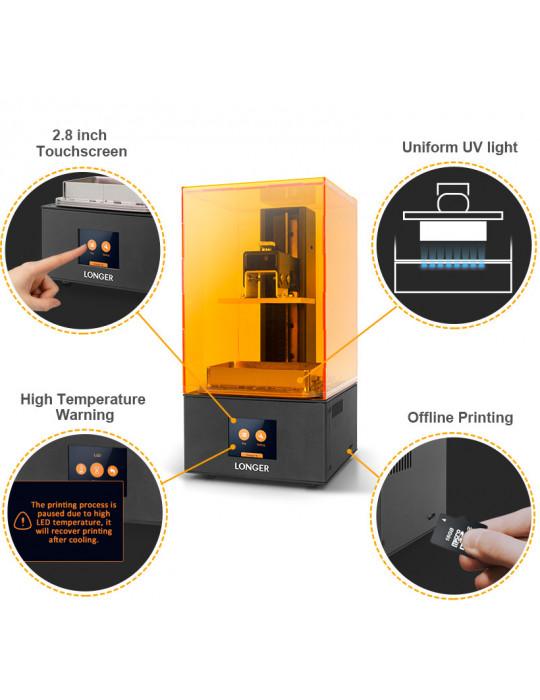 SLA, LCD - Imprimante 3D Longer3D Orange 10 - LCD 140x98x55mm à résine haute précision - 7