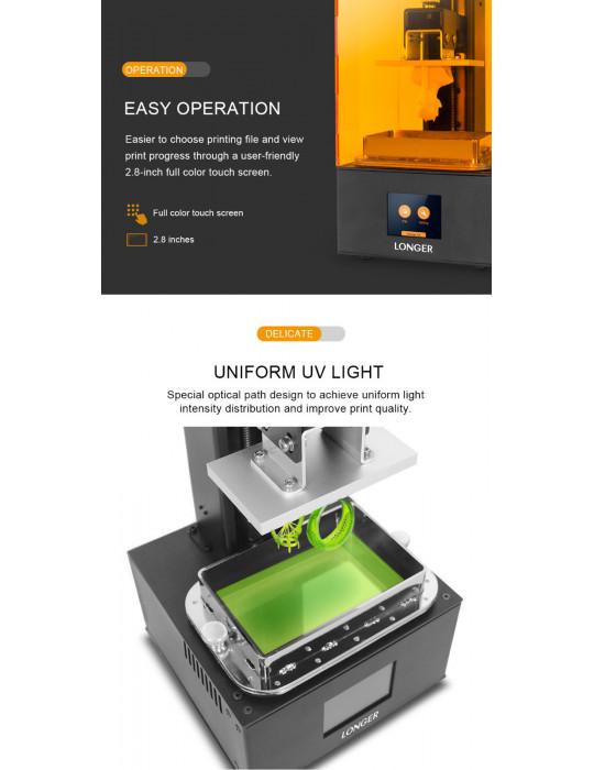 SLA, LCD - Imprimante 3D Longer3D Orange 10 - LCD 140x98x55mm à résine haute précision - 10