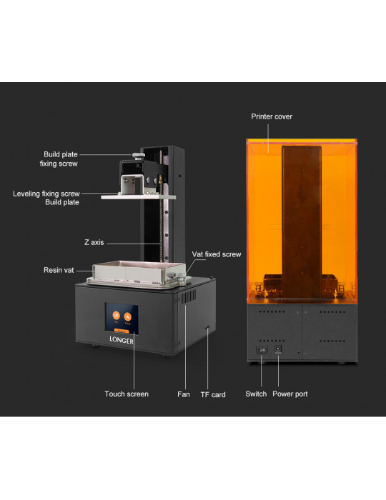 SLA, LCD - Imprimante 3D Longer3D Orange 30 - LCD 2K - 120x68x170mm à résine haute précision HD - 16