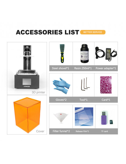 SLA, LCD - Imprimante 3D Longer3D Orange 30 - LCD 2K - 120x68x170mm à résine haute précision HD - 17