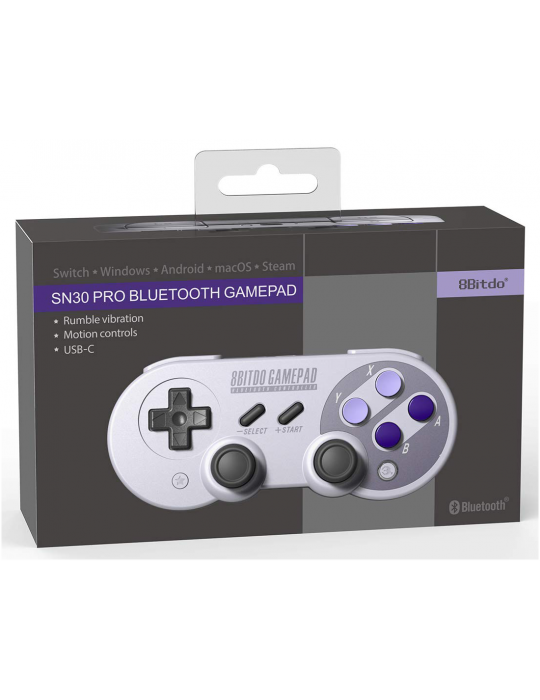 Manettes - Manette de jeux rétro 8bitDo SN30 Pro - SNES Sticks analogiques sans fil - 9