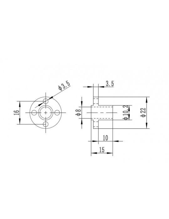 Noix - Noix T8 laiton pour tige filetée - 3