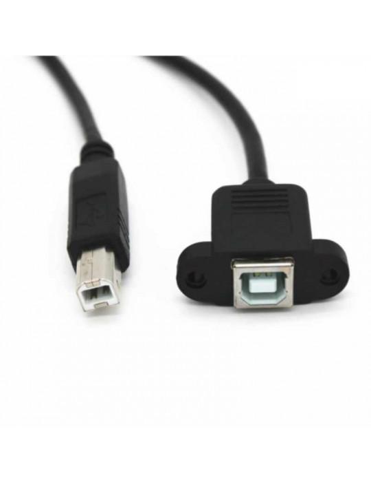 Connectiques / Câblages - Prise-rallonge USB type B à monter en cloison - noir - 2