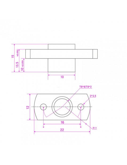 Noix - Bride T8 en laiton - 4