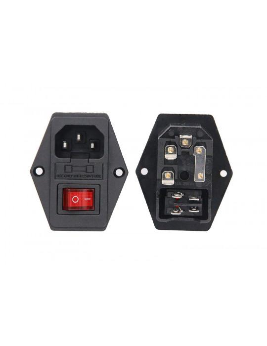Contrôles - Interrupteur de puissance IEC320 avec fusible 250V - 10A - 2