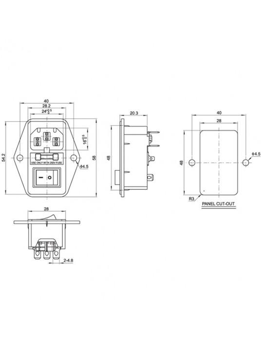 Contrôles - Interrupteur de puissance IEC320 avec fusible 250V - 10A - 3