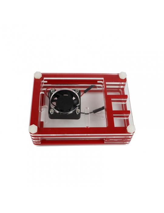 Boitiers - Boîtier Raspberry Pi 4 acrylique sandwich transparent - Rouge - 2