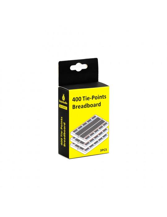 Electronique - Lot de 3 cartes de prototypage breadbord - 400 points - 1