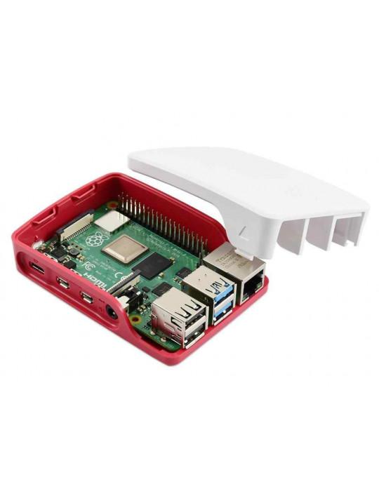 Boitiers - Boîtier officiel Raspberry Pi 4 blanc et rouge - 4