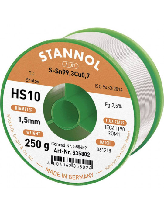 Fils et pâtes à braser - Fil d'étain à braser Stannol HS10 - S-Sn99.3Cu0.7 - Ø 1mm - 1