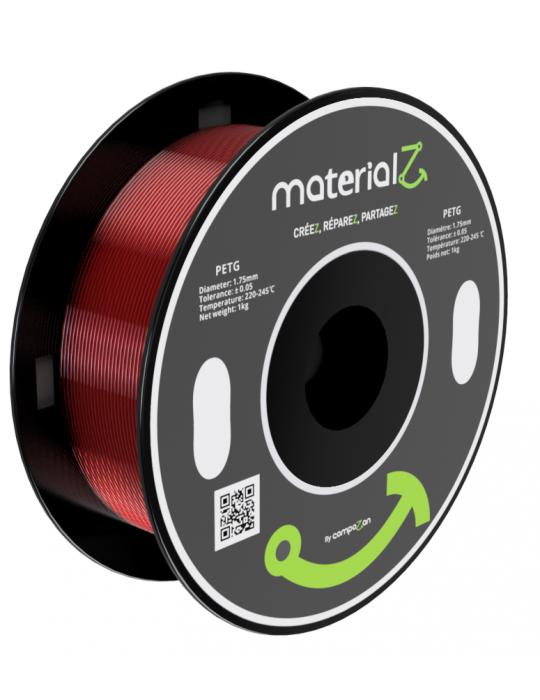 Filaments PETG - Filament PETG MaterialZ EcoZen SK2100 1,75mm - 1Kg Rouge Rubis - 1