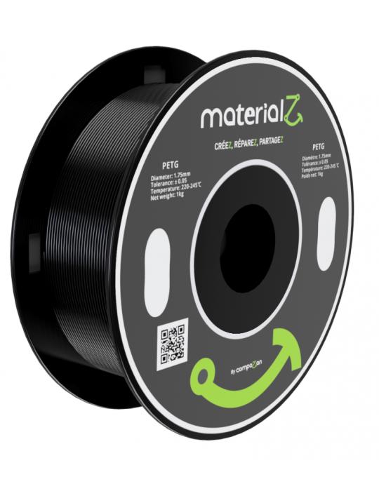 Filaments PETG - Filament PETG MaterialZ EcoZen SK2100 1,75mm - 1Kg Noir Obsidienne - 1
