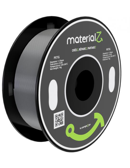 Filaments PETG - Filament PETG MaterialZ EcoZen SK2100 1,75mm - 1Kg Gris Hématite - 1