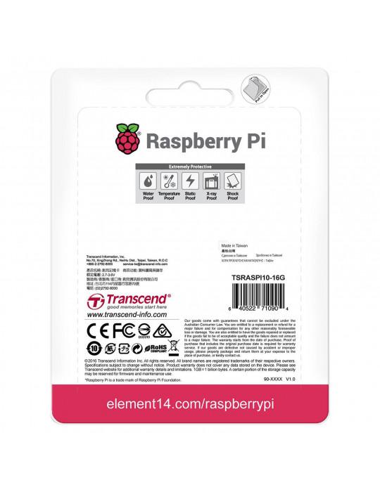 Electronique - Raspberry Pi NOOBS sur carte Micro-SD Transcend 16Go - 6